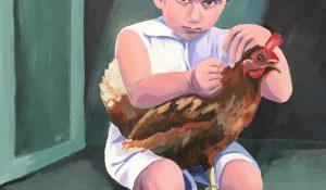 Junge mit Huhn